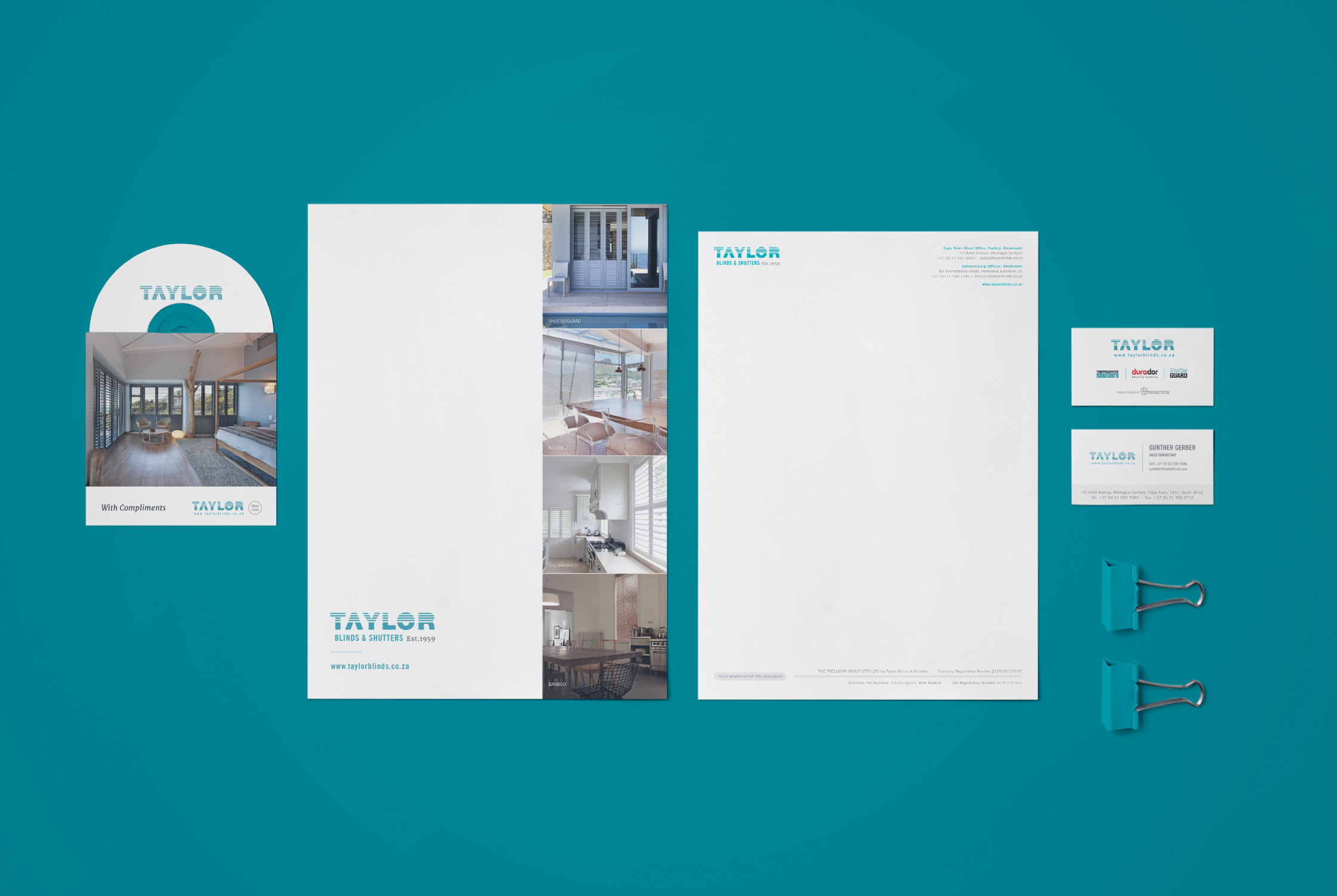 Taylor Blinds corporate Identity design - Brand identity agency Cape Town