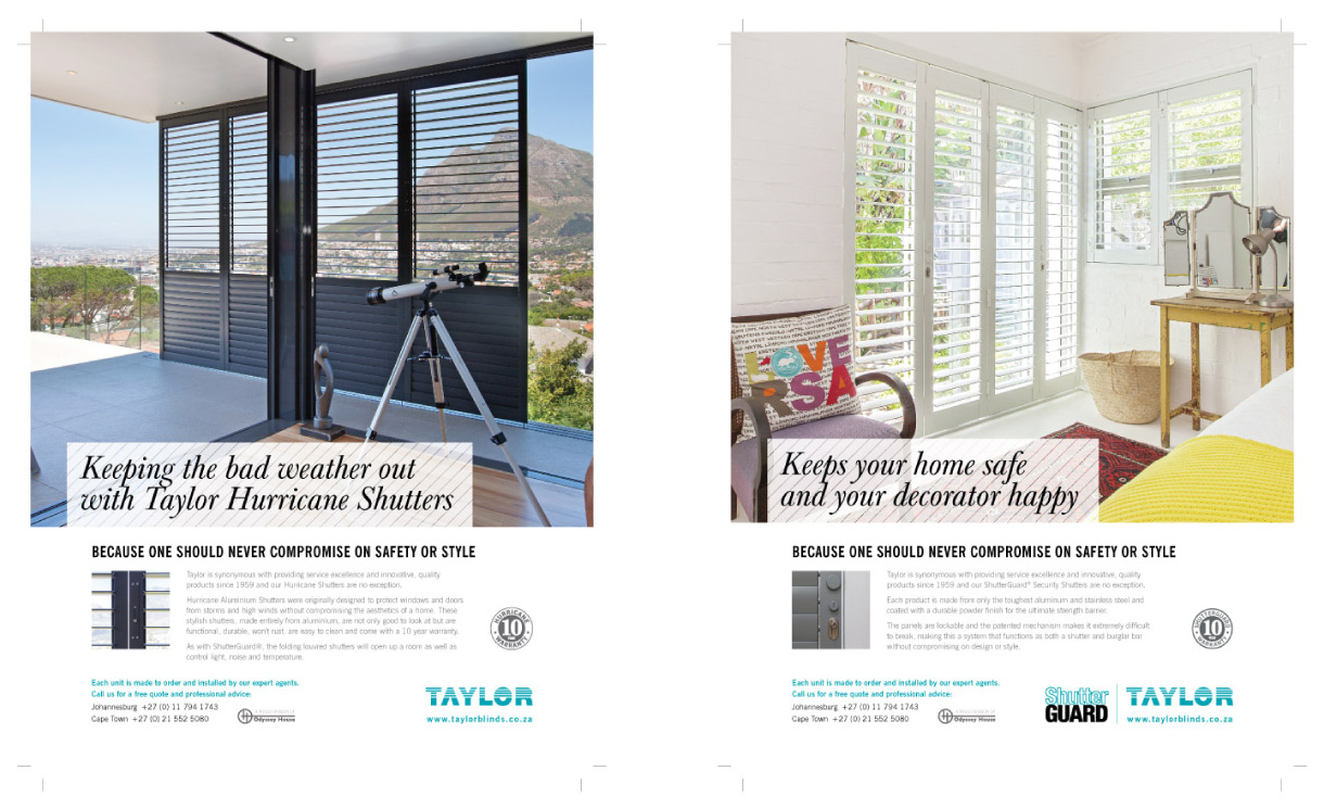 Taylor Blinds advertising design - Brand identity agency Cape Town