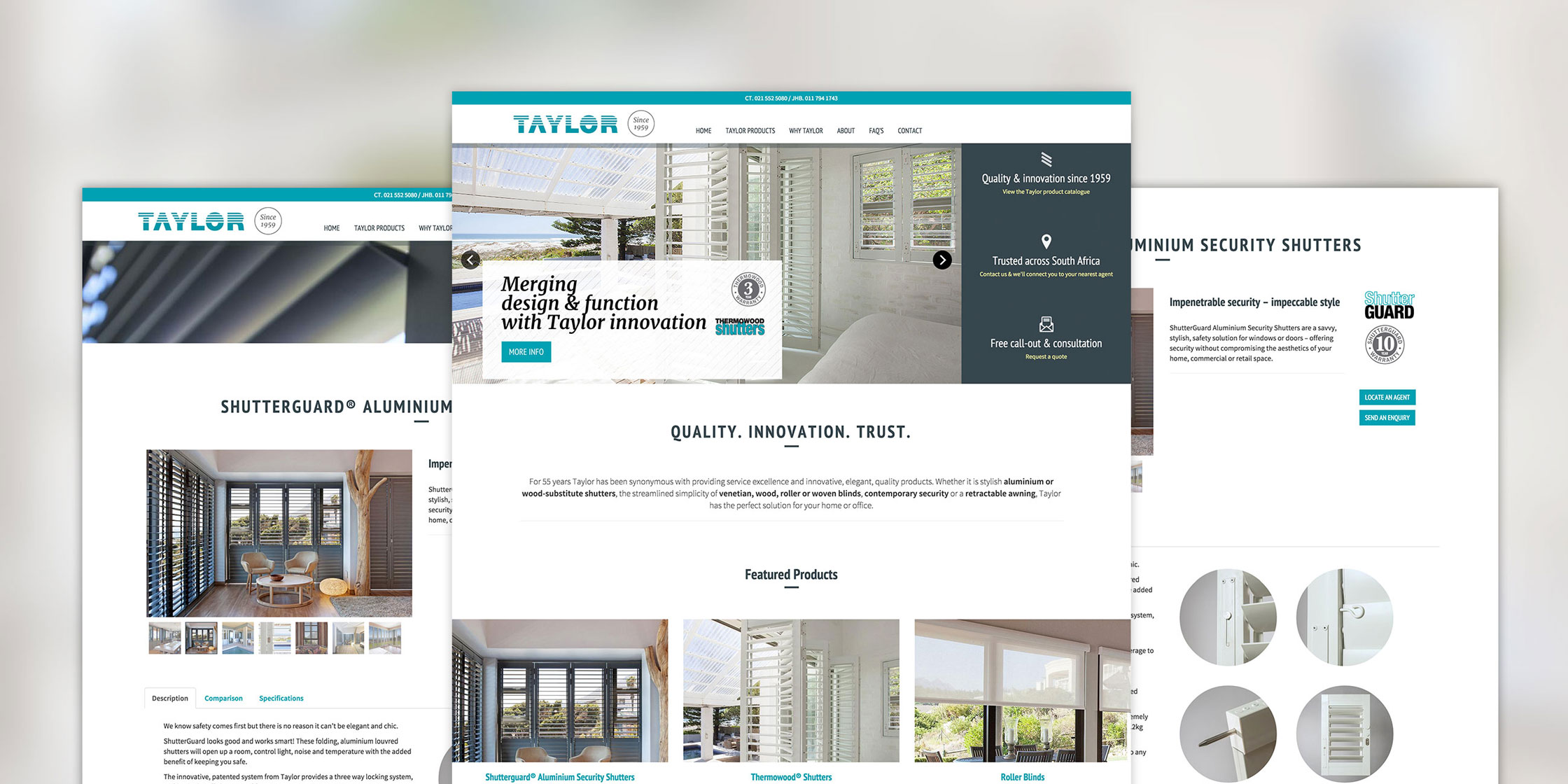 Taylor Blinds website design - Brand identity agency Cape Town