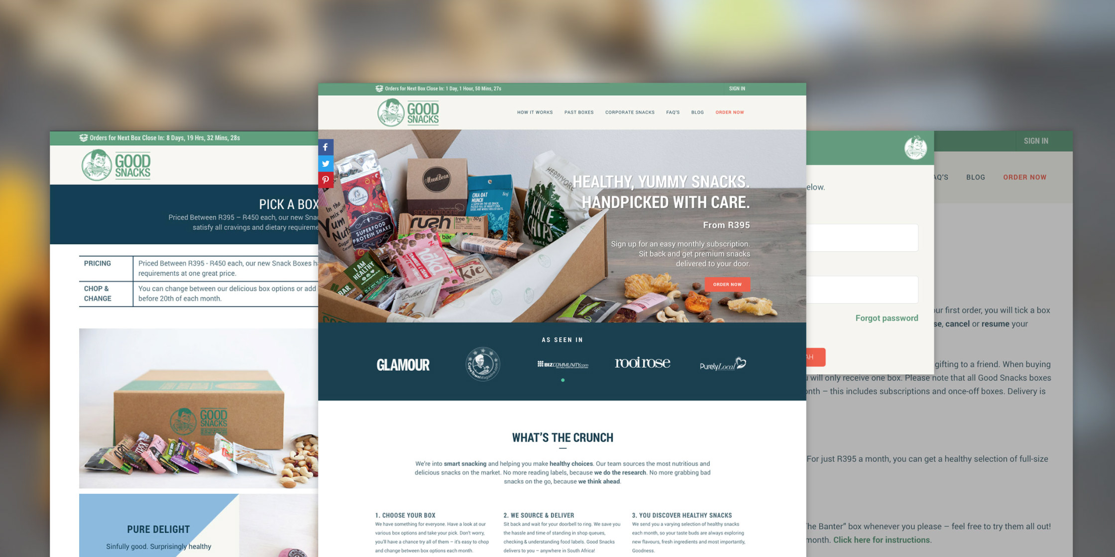 Good Snacks e-commerce website design